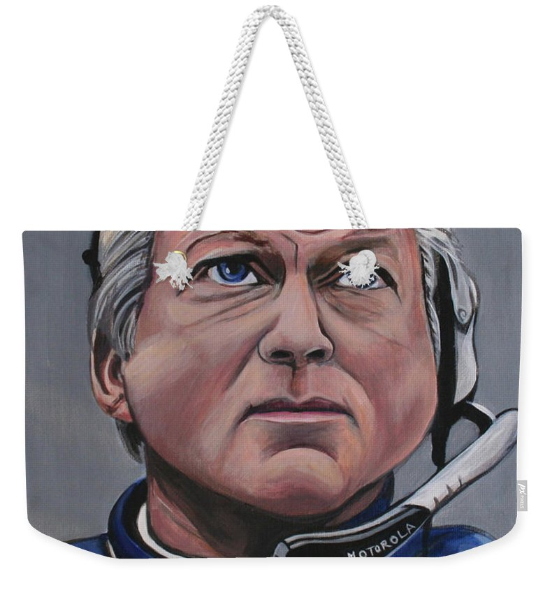 Jimmy Johnson Weekender Tote Bag featuring the painting Jimmy Johnson by Kate Fortin