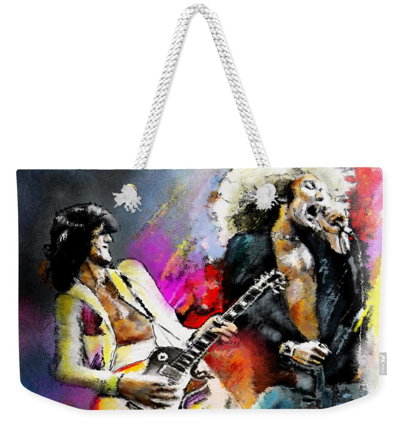 Musicians Weekender Tote Bag featuring the painting Jimmy Page And Robert Plant Led Zeppelin by Miki De Goodaboom