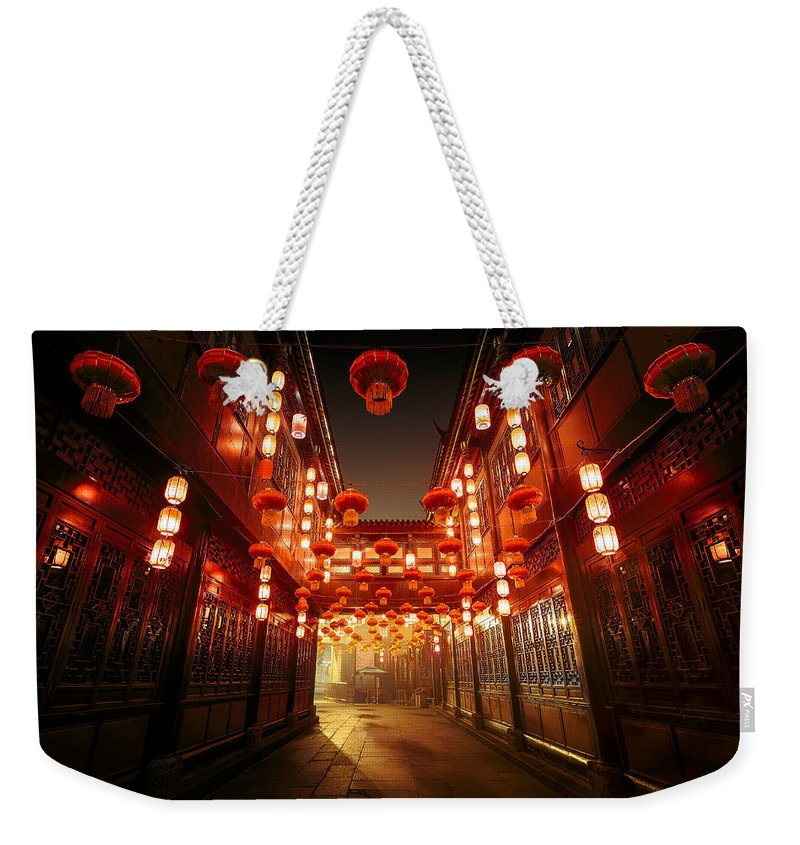 Chinese Culture Weekender Tote Bag featuring the photograph Jinli Street, Chengdu, Sichuan, China by Kiszon Pascal