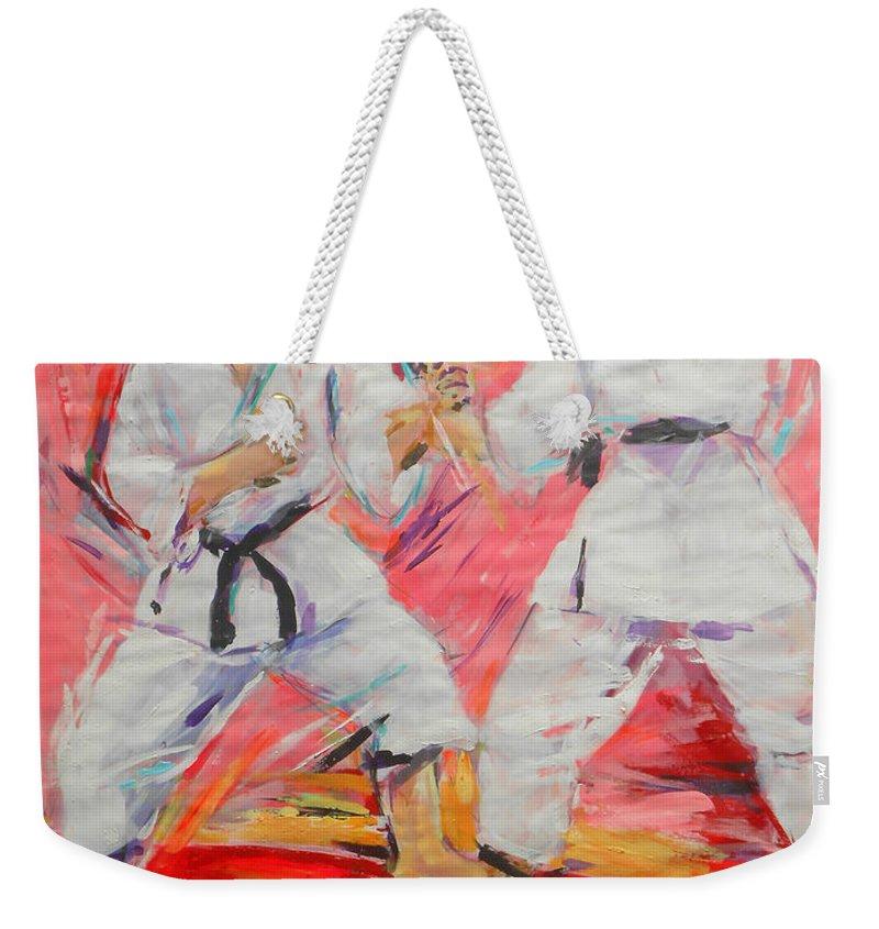 Jiyu Kumite Weekender Tote Bag featuring the painting Jiyu Kumite by Lucia Hoogervorst