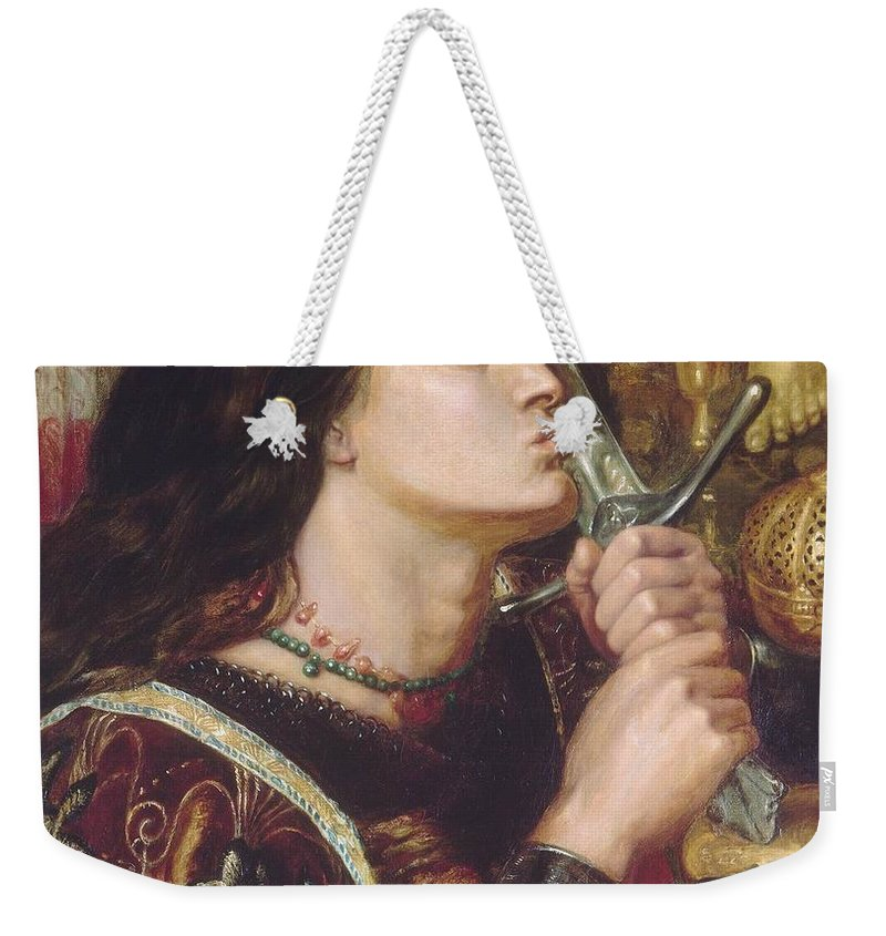 Dante Weekender Tote Bag featuring the painting Joan Of Arc Kisses The Sword Of Liberation by Philip Ralley