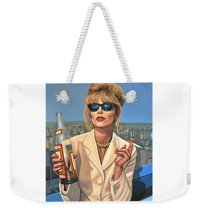 Joanna Lumley Weekender Tote Bag featuring the painting Joanna Lumley as Patsy Stone by Paul Meijering