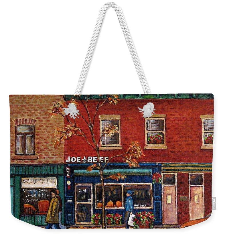 Montreal Weekender Tote Bag featuring the painting Joe Beef Restaurant Montreal by Carole Spandau