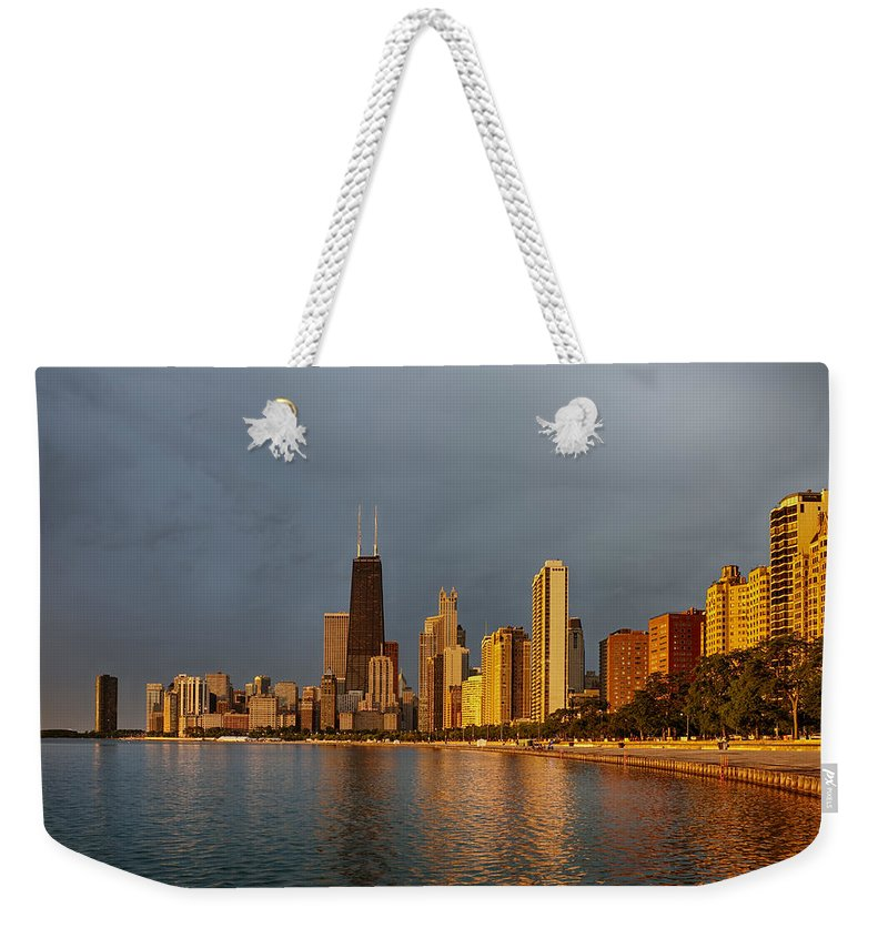 Clouds Weekender Tote Bag featuring the photograph John Hancock Building by Sebastian Musial