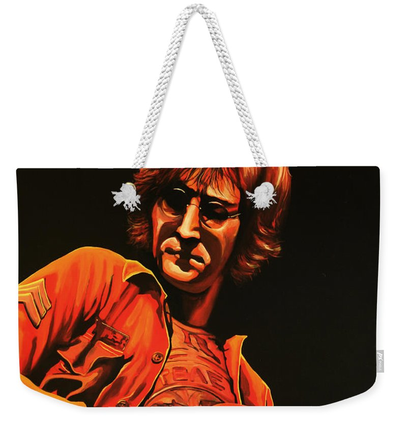 John Lennon Weekender Tote Bag featuring the painting John Lennon Painting by Paul Meijering