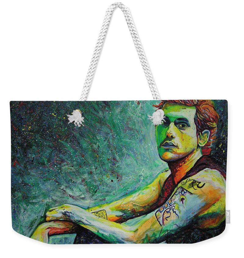 John Mayer Weekender Tote Bag featuring the painting John Mayer by Joshua Morton