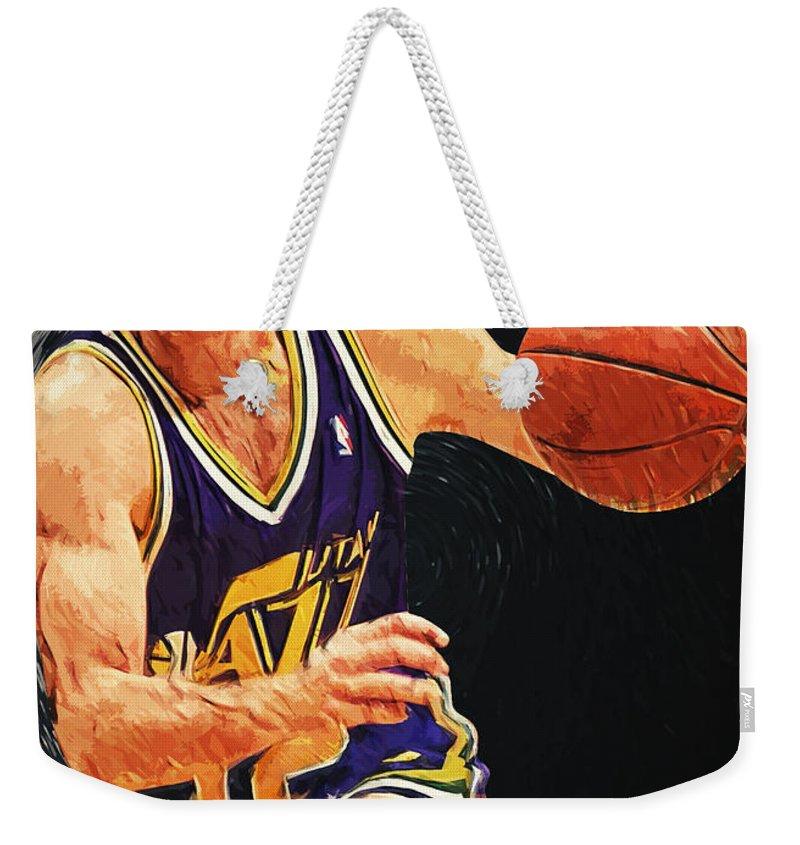 John Stockton Weekender Tote Bag featuring the digital art John Stockton by Zapista Zapista