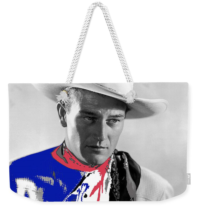 John Wayne Publicity Photo Overland Stage Raiders Louise Brooks The Three Mesquiteers Republic Pictures George Sherman Color Added Weekender Tote Bag featuring the photograph John Wayne Publicity Photo Overland Stage Raiders 1938 by David Lee Guss