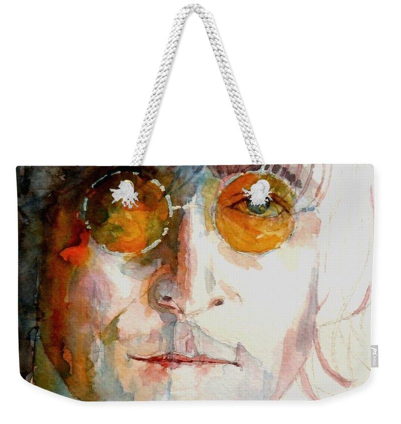 John Lennon Weekender Tote Bag featuring the painting John Winston Lennon by Paul Lovering