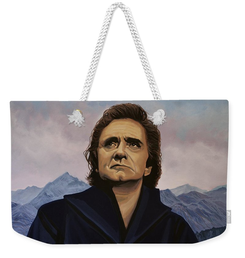 Johnny Cash Weekender Tote Bag featuring the painting Johnny Cash Painting by Paul Meijering
