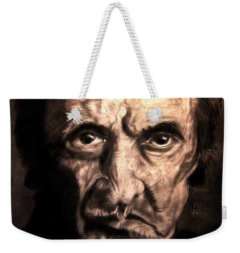 Johnny Cash Weekender Tote Bag featuring the drawing Johnny by Herbert Renard