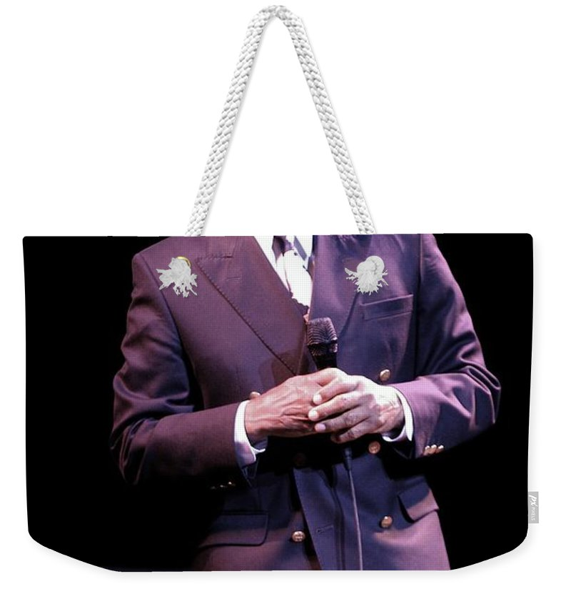 Actor Weekender Tote Bag featuring the photograph Johnny Mathis by Concert Photos