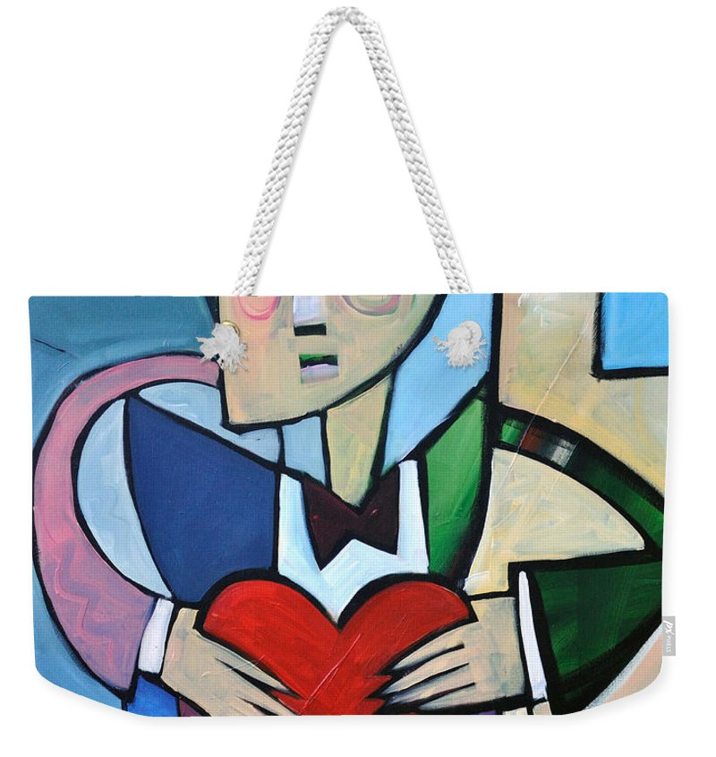 Heart Weekender Tote Bag featuring the painting Joseph Came A Courtin by Tim Nyberg