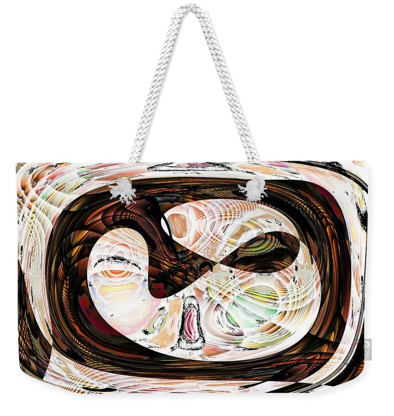 Abstract Weekender Tote Bag featuring the digital art What Did You Just Say? by Jack Bowman