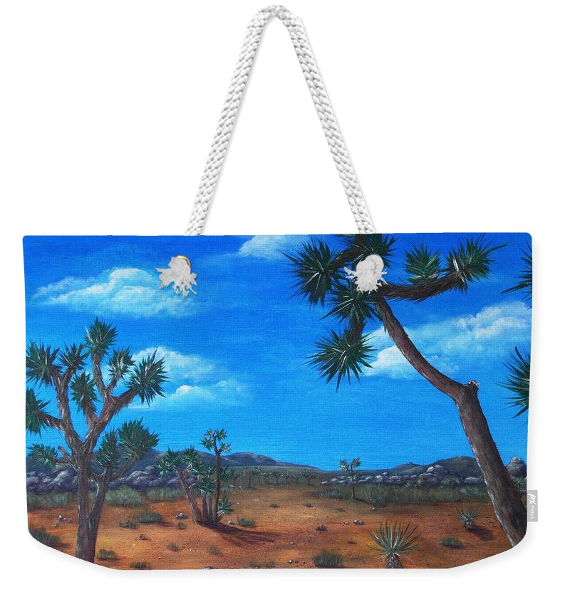 Malakhova Weekender Tote Bag featuring the painting Joshua Tree Desert by Anastasiya Malakhova