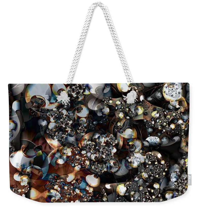 Forms Weekender Tote Bag featuring the digital art Jostling by Ron Bissett