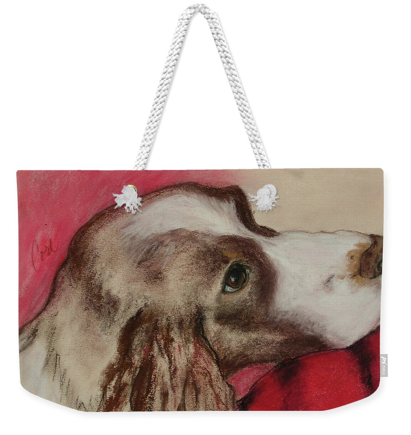 Springer Spaniel Weekender Tote Bag featuring the drawing Jourdan by Cori Solomon