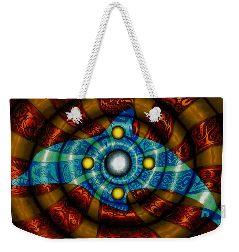 Dolphin Weekender Tote Bag featuring the painting Journey To The Center by Kevin Chasing Wolf Hutchins