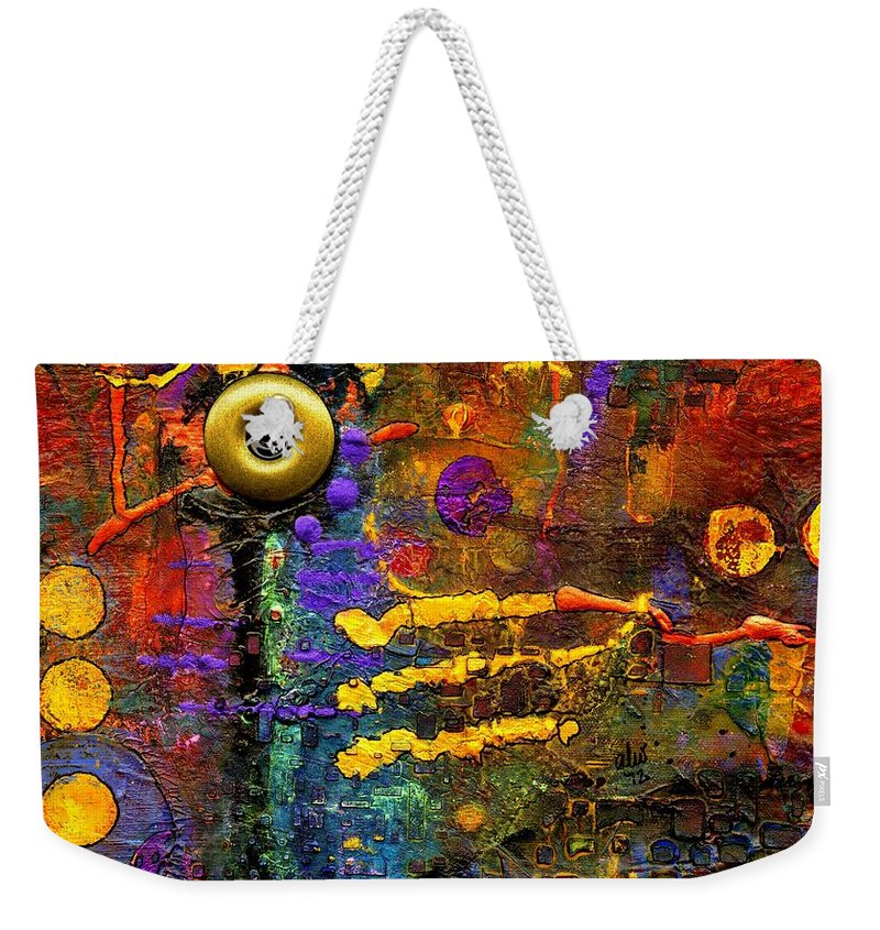 Acrylic Weekender Tote Bag featuring the painting Joy To The World by Angela L Walker