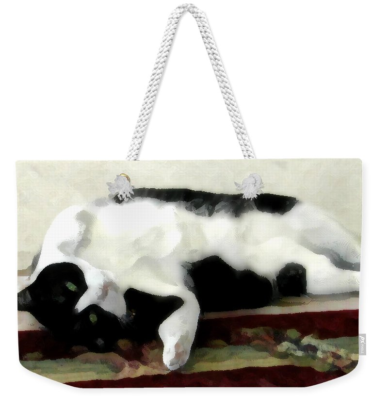 Black And White Weekender Tote Bag featuring the photograph Joyful Kitty by Jeanne A Martin