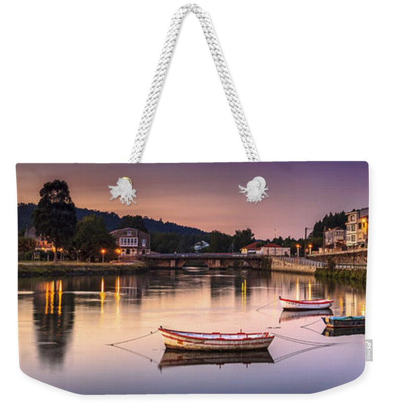 Jubia Weekender Tote Bag featuring the photograph Jubia River Panorama Neda Naron Galicia Spain by Pablo Avanzini