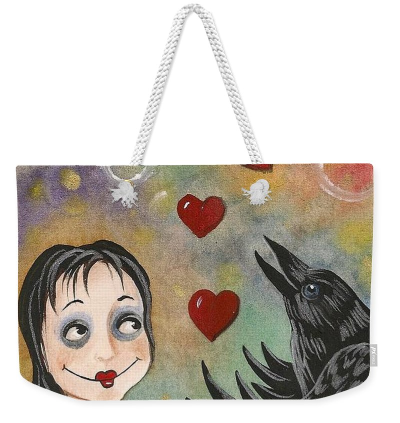Print Weekender Tote Bag featuring the painting Juggler Of The Hearts by Margaryta Yermolayeva