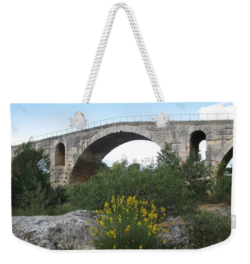 Roman Stonebridge Weekender Tote Bag featuring the photograph Julian Bridge Provence by Christiane Schulze Art And Photography