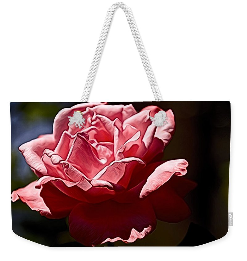 Rose Weekender Tote Bag featuring the photograph Julie Pinked by Alice Gipson