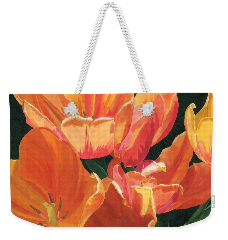 Tulips Weekender Tote Bag featuring the painting Julie's Tulips by Lynne Reichhart