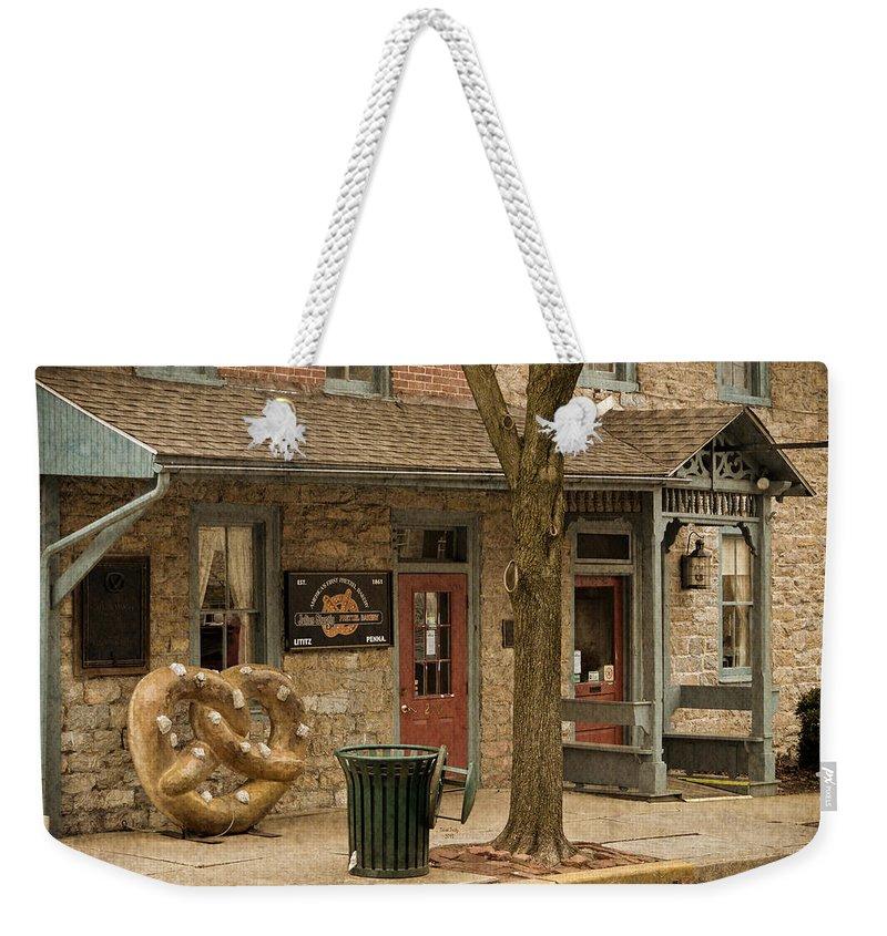 Pretzel Weekender Tote Bag featuring the mixed media Julius Sturgis Pretzel Factory by Trish Tritz