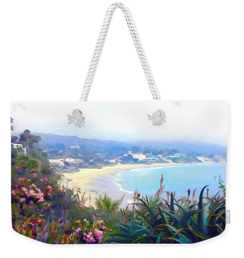Beach Weekender Tote Bag featuring the painting June Gloom Morning At Laguna Beach Coast by Elaine Plesser
