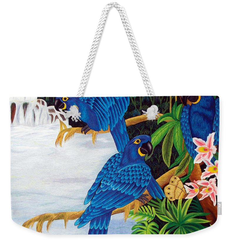 Toucan Weekender Tote Bag featuring the tapestry - textile Jungle Chats Hand Embroidery by To-Tam Gerwe