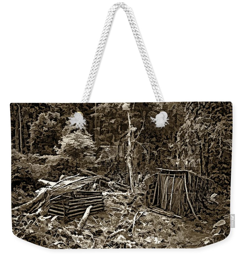 Thailand Weekender Tote Bag featuring the photograph Jungle Homestead Sepia by Steve Harrington