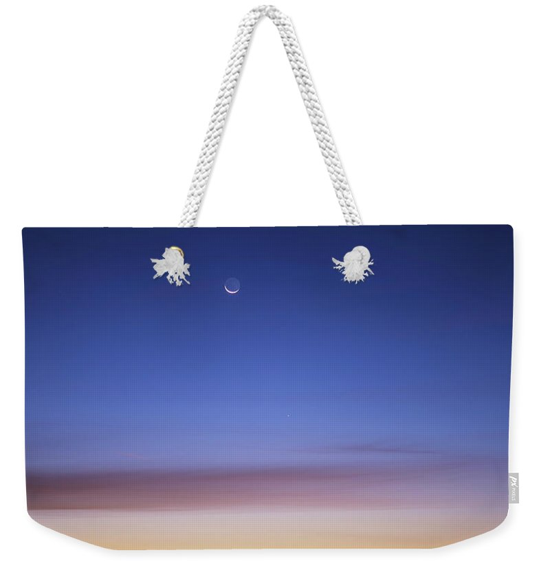 6x7 Film Weekender Tote Bag featuring the photograph Jupiter, Mercury And The Moon by Alan Dyer