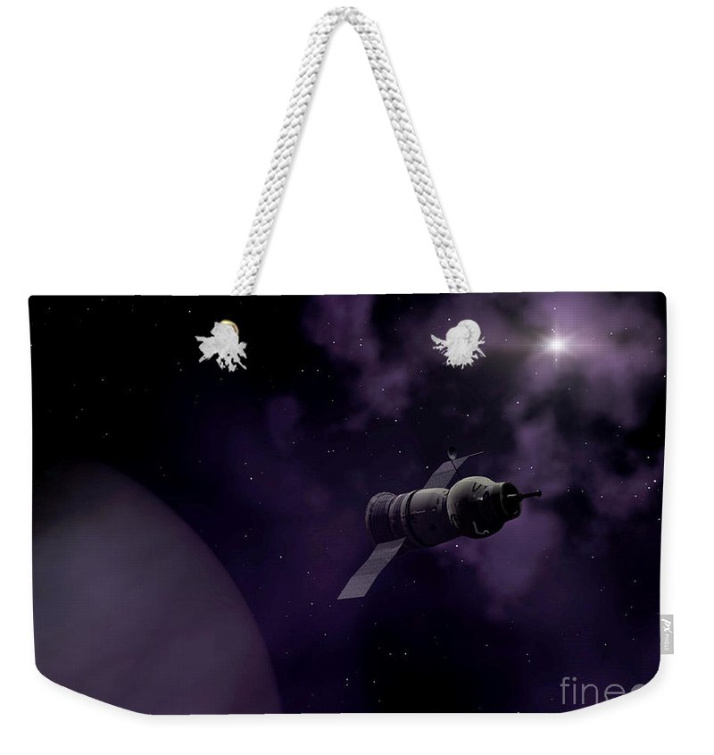 Space Weekender Tote Bag featuring the digital art Jupitor One Exploration by Richard Rizzo