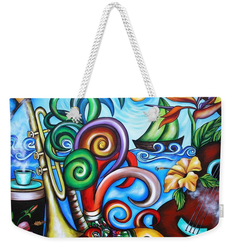Cuba Weekender Tote Bag featuring the painting Just A Day In Paradise by Annie Maxwell