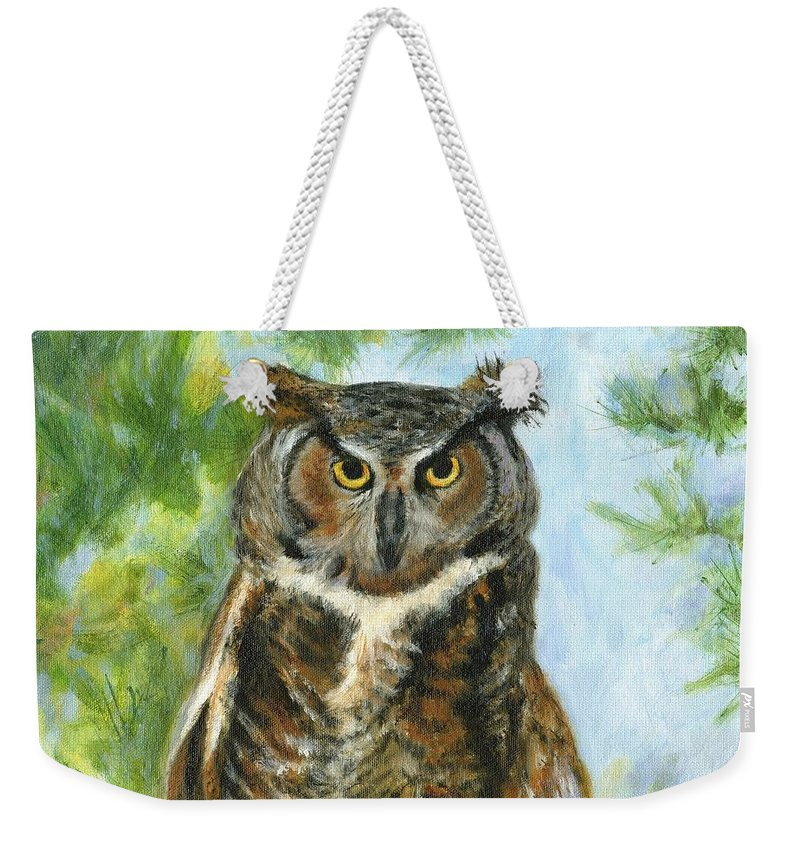 Owl Weekender Tote Bag featuring the painting Just A Hoot by Deborah Butts