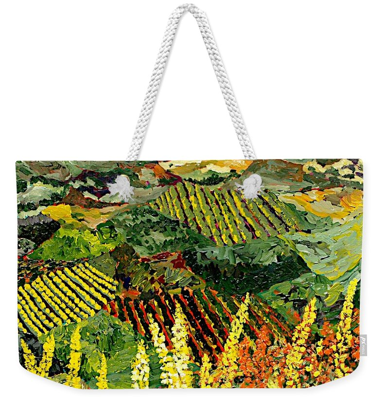 Landscape Weekender Tote Bag featuring the painting Just A Little Valley by Allan P Friedlander
