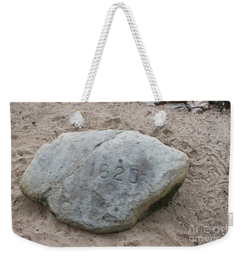 Plymouth Weekender Tote Bag featuring the photograph Just Another Veiw Of Plymouth Rock by Jennifer E Doll
