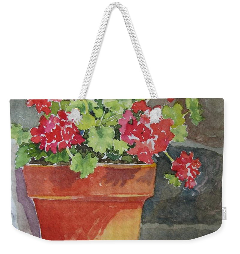 Claypots Weekender Tote Bag featuring the painting Just Basking In The Sun by Mary Ellen Mueller Legault