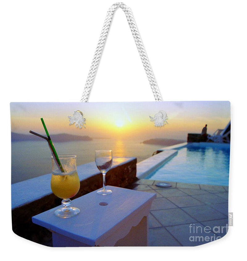 Caldera Weekender Tote Bag featuring the photograph Just Before Sunset In Santorini by Madeline Ellis