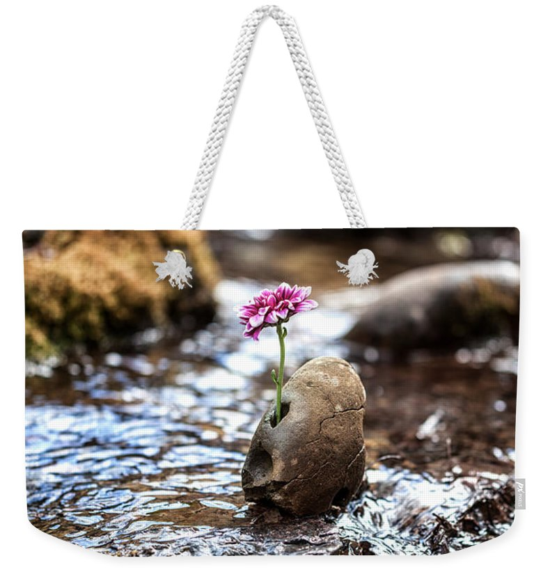 Flower Weekender Tote Bag featuring the photograph Just Let Your Love Flow by Aaron Aldrich