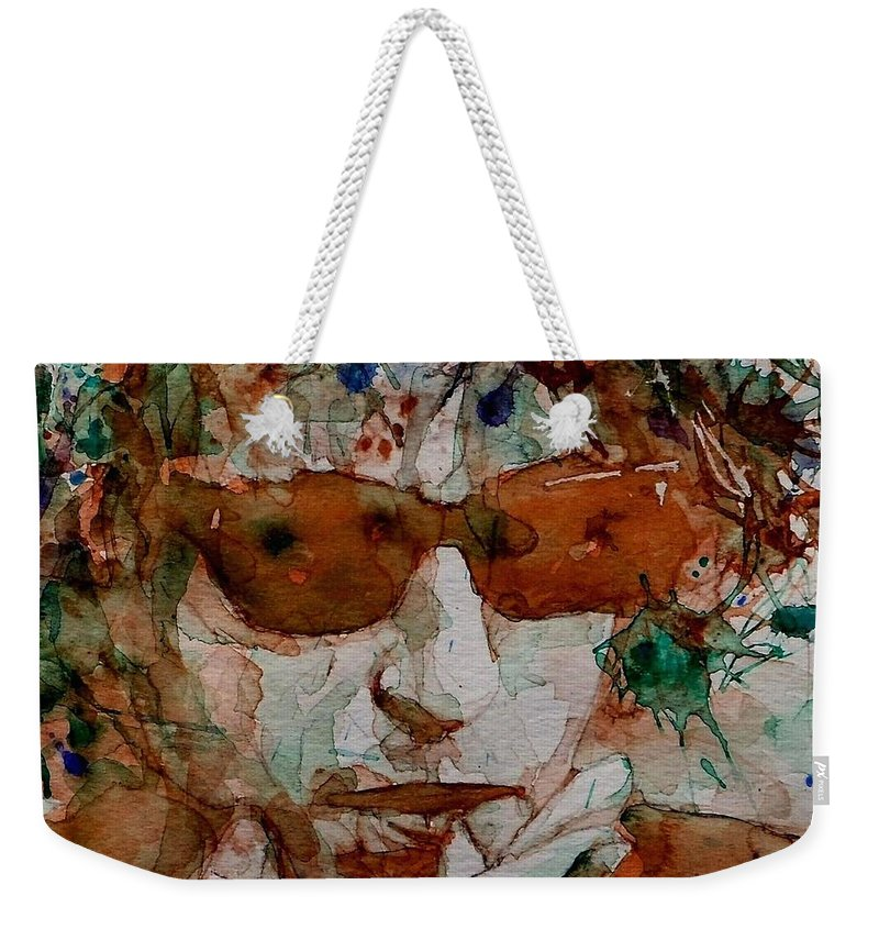 Bob Dylan Weekender Tote Bag featuring the painting Just Like A Woman by Paul Lovering