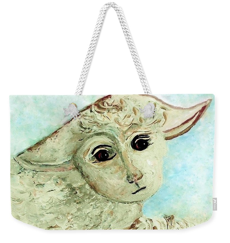 Lamb Weekender Tote Bag featuring the painting Just One Little Lamb by Eloise Schneider Mote