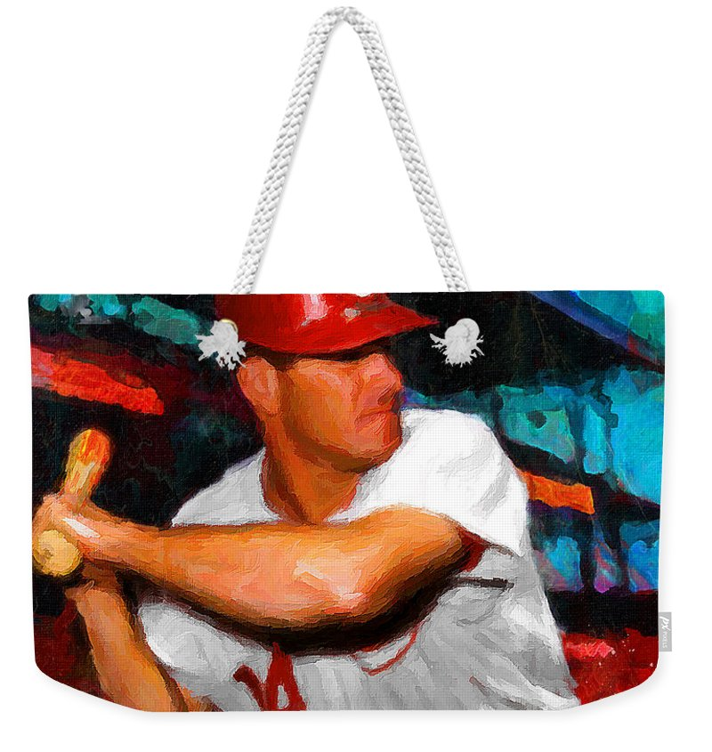Pete Rose Weekender Tote Bag featuring the painting Just Pete Rose by John Farr