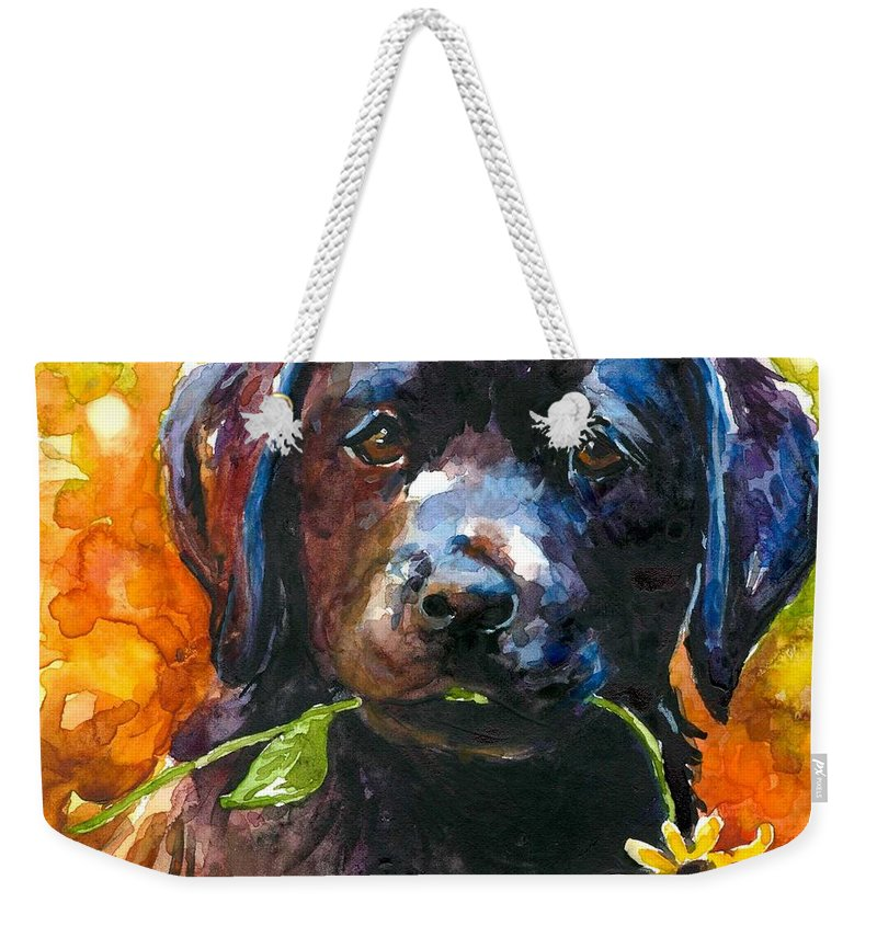 Black Lab Puppy Weekender Tote Bag featuring the painting Just Picked by Molly Poole