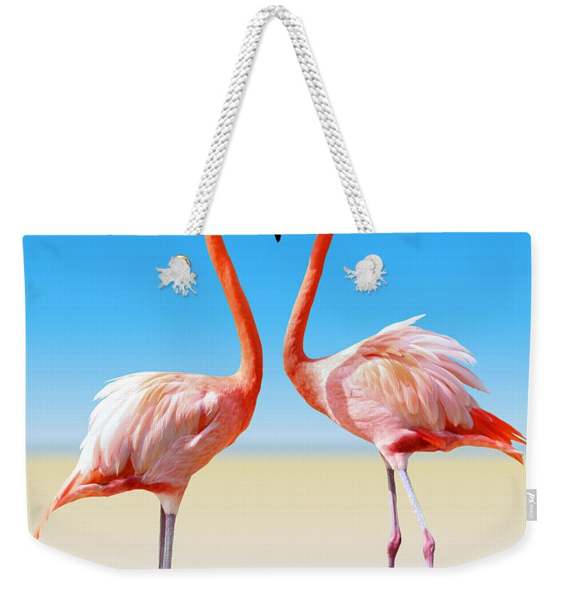 Flamingo Weekender Tote Bag featuring the photograph Just We Two by Kristin Elmquist