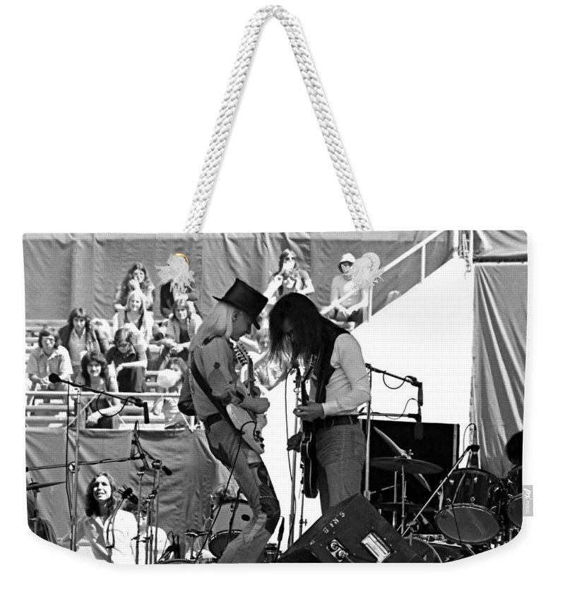 Johnny Winter Weekender Tote Bag featuring the photograph Jwinter #7 Crop 1 by Ben Upham