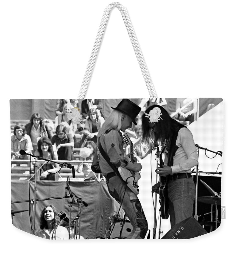 Johnny Winter Weekender Tote Bag featuring the photograph Jwinter #7 Crop 2 by Ben Upham
