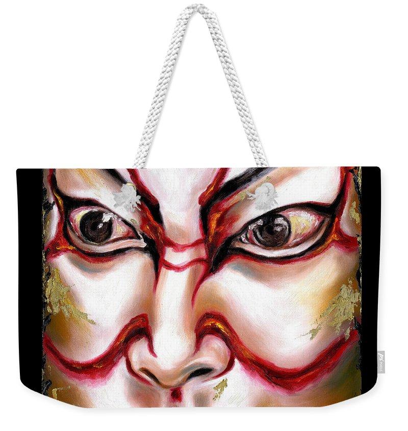 Kabuki Weekender Tote Bag featuring the painting Kabuki One by Hiroko Sakai